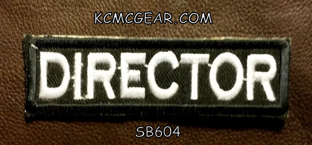 DIRECTOR White on Black Small Badge for Biker Vest jacket Motorcycle Patch