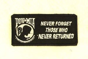 POW MIA NEVER FORGET Small Badge for Biker Vest Motorcycle Patch