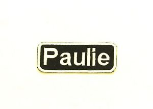 Paulie White on Black Iron on Name TAG Patch for Biker Vest Jacket NB182