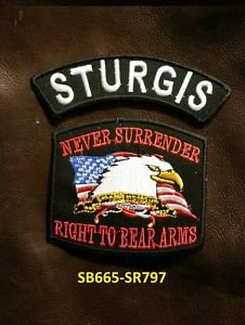 STURGIS and NEVER SURRENDER Small Badge Patches Set for Biker Vest Jacket