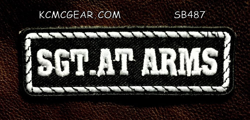 SGT AT ARMS White on Black Small Badge for Biker Vest Jacket Motorcycle Patch
