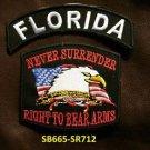 FLORIDA and NEVER SURRENDER Small Badge Patches Set for Biker Vest Jacket