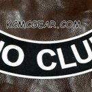 "NO CLUB Black on White Back Patch Bottom Rocker for Biker Veteran Vest 10"""