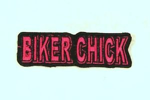 BIKER CHICK Red on Black Small Badge for Biker Vest Motorcycle Patch