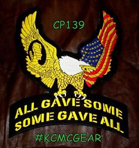 """ALL GAVE SOME EAGLE for Biker Motorcycle Vests Jackets Military Back Patches 10"""""""