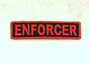 ENFORCER Red on Black Small Badge for Biker Vest Motorcycle Patch