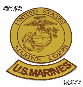US MARINES Brown on Gold Iron on 2 Patches Set for Biker Jacket