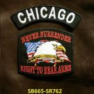 CHICAGO and NEVER SURRENDER Small Badge Patches Set for Biker Vest Jacket
