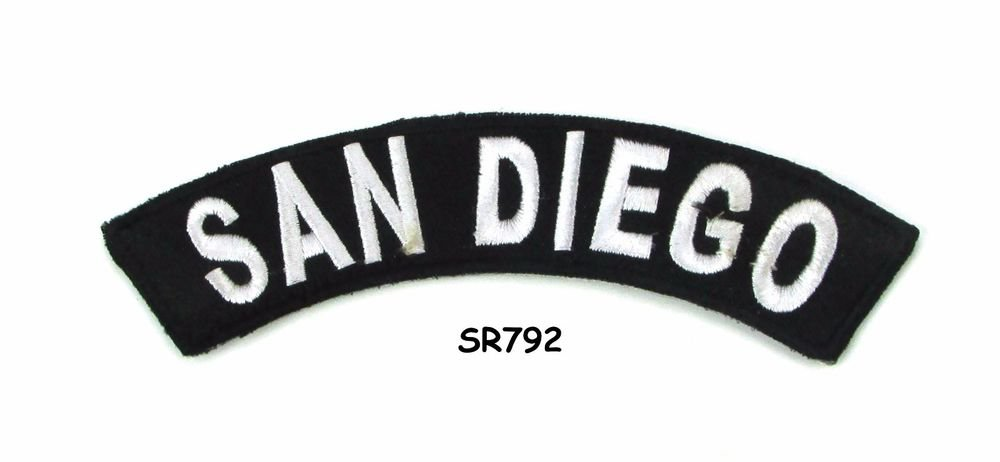 San Diego White on Black Small Rocker Iron on Patches for Biker Vest Jacket