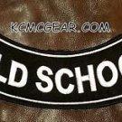 """OLD SCHOOL Black on White Back Patch Bottom Rocker for Biker Veteran Vest 10"""""""
