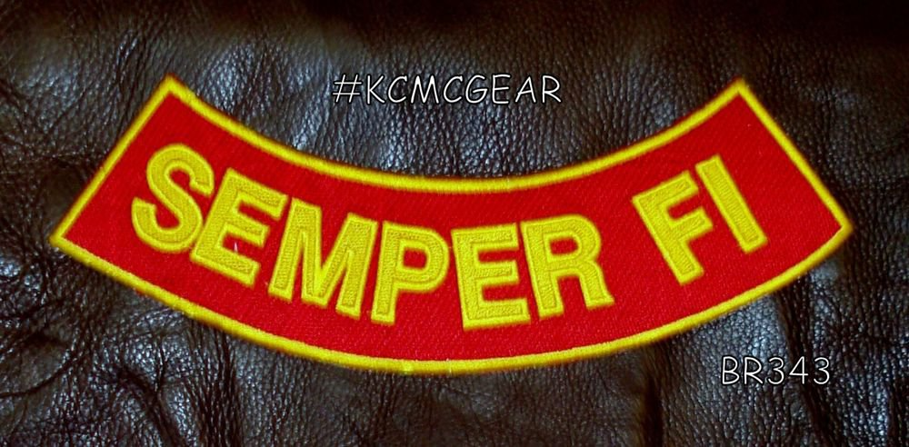 "SEMPER FI Yellow on Red Back Patch Bottom Rocker for Biker Veteran Vest 10"""
