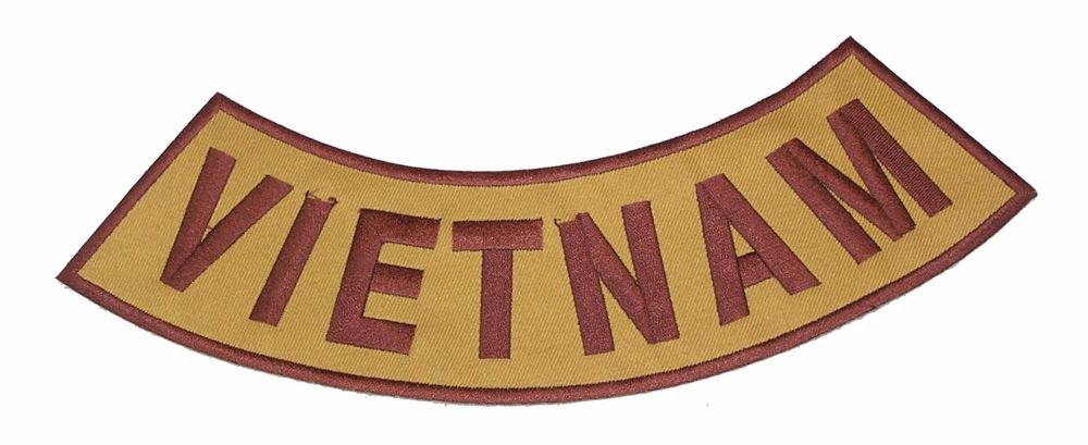 VIETNAM Brown on Gold Bottom Rocker Patch Iron on for Biker Vest and Jacket