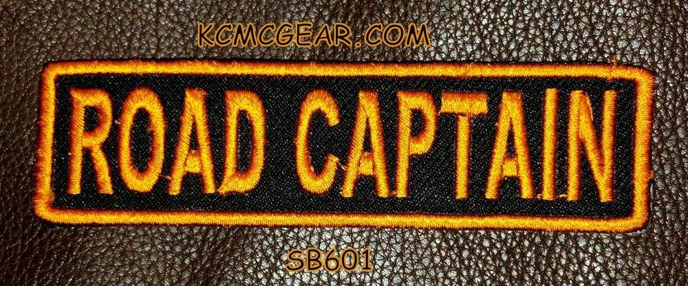 ROAD CAPTAIN Orange on Black Small Badge for Biker Vest jacket Motorcycle Patch