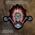 Indian Biker Skull in Headdress Small Badge for Biker Vest Motorcycle Patch