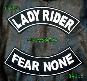 Lady Rider Fear None Embroidered Patches Sew on Patches Motorcycle Biker Patch S