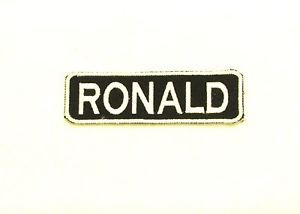 RONALD White on Black Iron on Name TAG Patch for Biker Vest Jacket NB250