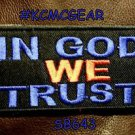 IN GOD WE TRUST Blue Red on Black Small Badge for Biker Vest Motorcycle Patch