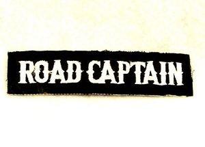 Road Captain White on black Bold Small Badge for Biker Vest Jacket Patch