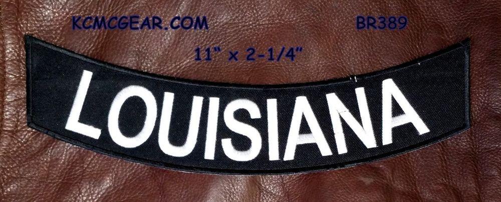 """LOUISIANA White on Black Back Patch Bottom Rocker for Biker Veteran Vest 10"""""""