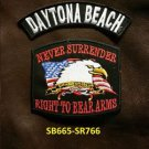 DAYTONA BEACH and NEVER SURRENDER Small Badge Patches Set for Biker Vest Jacket