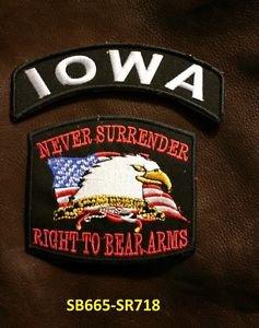 IOWA and NEVER SURRENDER Small Badge Patches Set for Biker Vest Jacket SB665-SR7