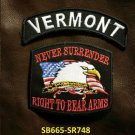 VERMONT and NEVER SURRENDER Small Badge Patches Set for Biker Vest Jacket