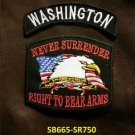 WASHINGTON and NEVER SURRENDER Small Badge Patches Set for Biker Vest Jacket