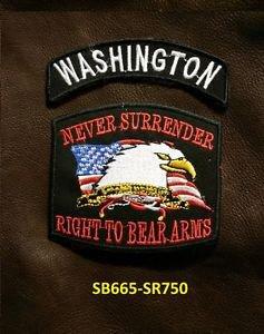 WASHINGTON and NEVER SURRENDER Small Badge Patches Set for Biker Vest Jacket