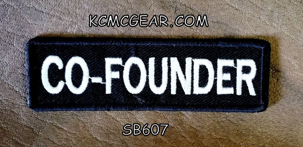 CO-FOUNDER  White on Black Small Badge for Biker Vest jacket Motorcycle Patch