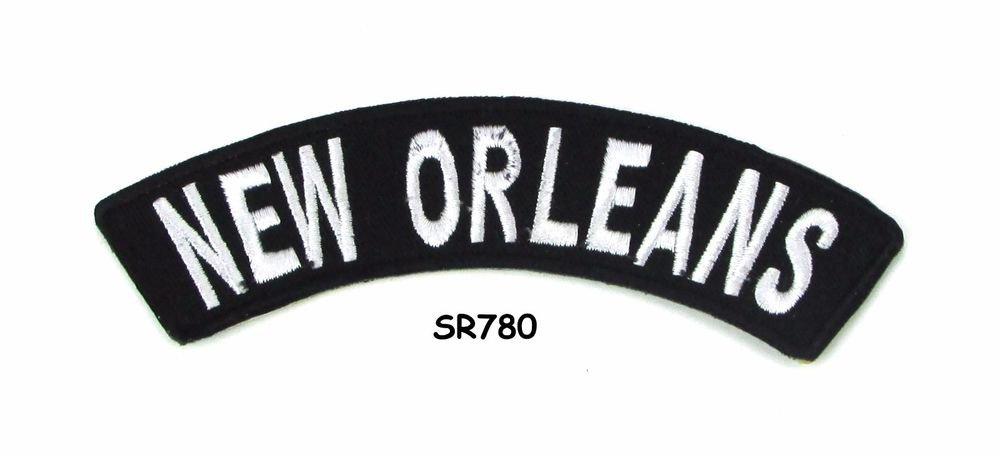 New Orleans White on Black Small Rocker Iron on Patches for Biker Vest Jacket