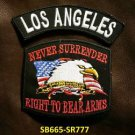 LOS ANGELES and NEVER SURRENDER Small Badge Patches Set for Biker Vest Jacket