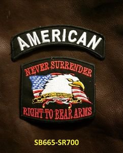 AMERICAN and NEVER SURRENDER Small Badge Patches Set for Biker Vest Jacket