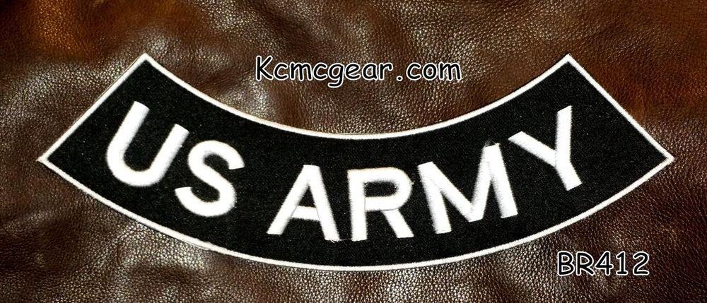 "U.S. ARMY White on Black Back Patch Bottom Rocker for Biker Veteran Vest 10"""