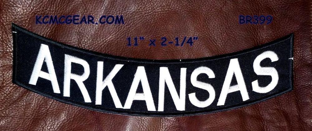 """ARKANSAS White on Black Back Patch Bottom Rocker for Biker Veteran Vest 10"""""""