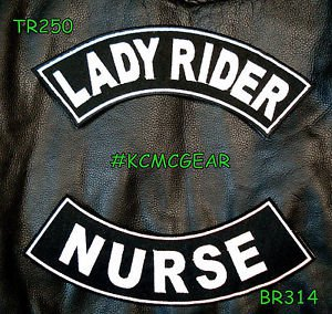 Lady Rider Nurse Embroidered Patches Sew on Patches Motorcycle Biker Patch Set f