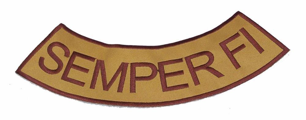 SEMPER FI Brown on Gold Bottom Rocker Patch Iron on for Biker Vest and Jacket