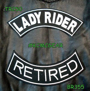 Lady Rider Retired Embroidered Patches Motorcycle Biker Patch Set for Jackets