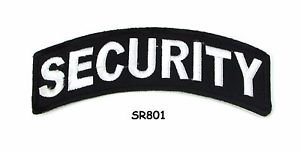 Security White on Black Small Rocker Iron on Patches for Biker Vest Jacket