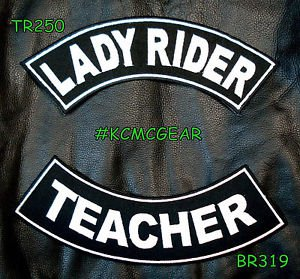 Lady Rider Teacher Embroidered Patches Sew on Patches Motorcycle Biker Patch Set