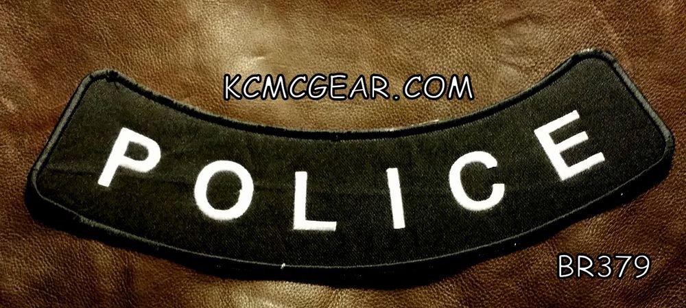 """POLICE  White on Black Back Patch Bottom Rocker for Biker Veteran Vest 10"""""""