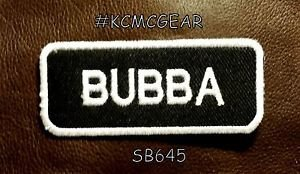 BUBBA White on Black Small Badge for Biker Vest Jacket Motorcycle Patch