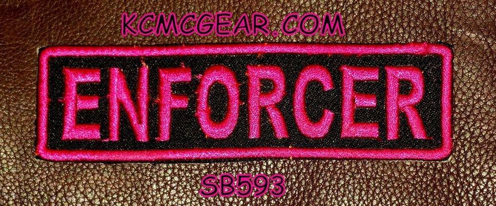 ENFORCER Pink on Black Small Badge for Biker Vest jacket Motorcycle Patch