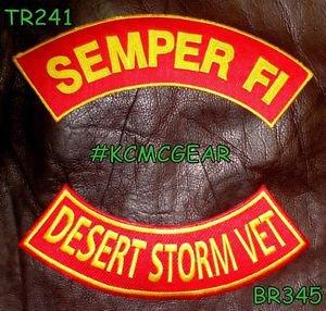 SEMPER FI DESERT STORM VET Brown on Red Back Military Patches Set Biker Vest