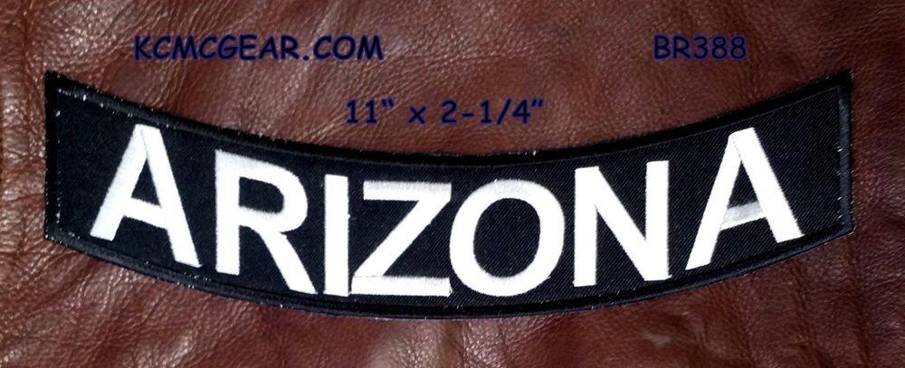 """ARIZONA White on Black Back Patch Bottom Rocker for Biker Veteran Vest 10"""""""