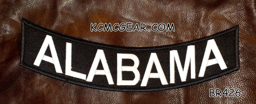 ALABAMA Black on White Back Patch Bottom Rocker for Biker Veteran Vest 10""