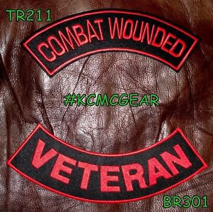 COMBAT WOUNDED VETERAN Red on Black Back Military Patches Set for Biker Vest