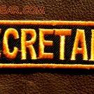 SECRETARY Orange on Black Small Badge for Biker Vest jacket Motorcycle Patch