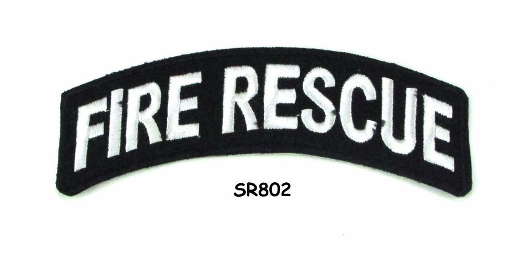 Fire Rescue White on Black Small Rocker Iron on Patches for Biker Vest Jacket