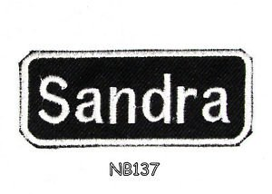 SANDRA Name Tag Patch Iron or sew on for Shirt Jacket Vest New BIKER Patches