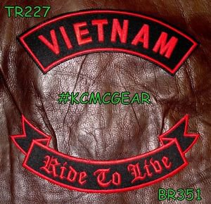 VIETNAM RIDE TO LIVE Banner Red on Black Back Military Patches Set Biker Vest